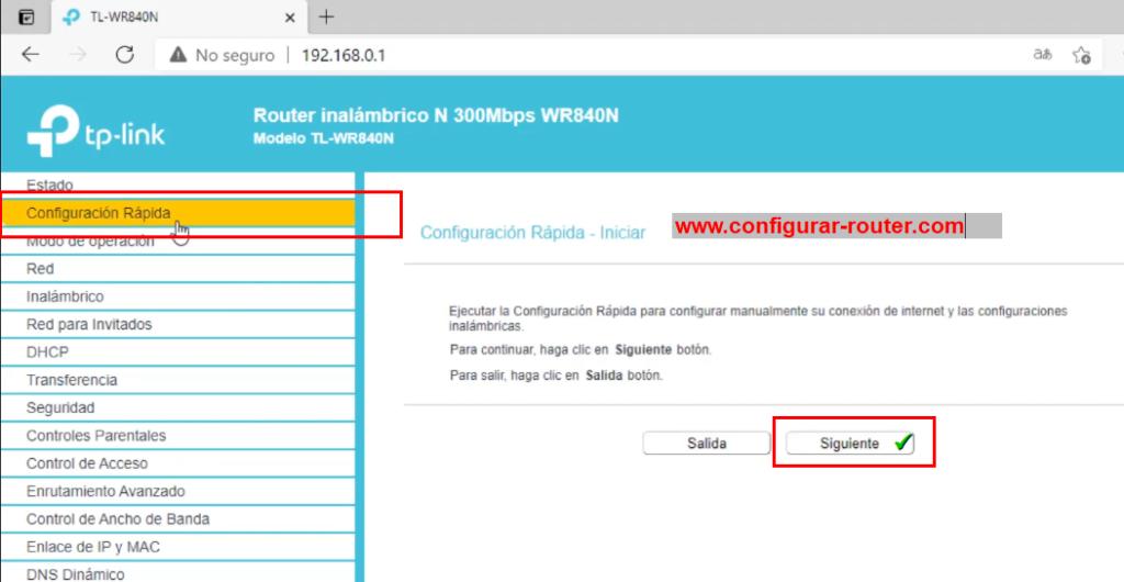 Configuración rapida tp-link