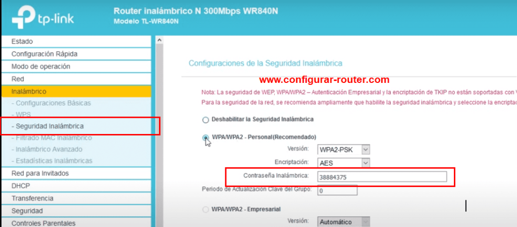 cambiar clave wifi tp-link